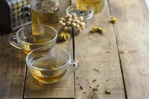 kopp friskt te över träbakgrund foto