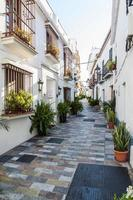 byar i Andalusien med blommor på gatorna foto
