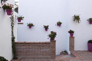 kvadrat med växtkrukor i Andalusien foto