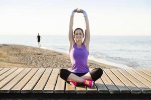 träning på stranden foto