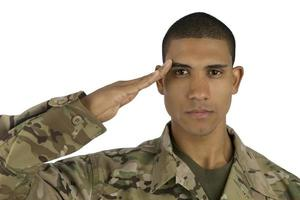 afroamerikansk soldat hälsar foto