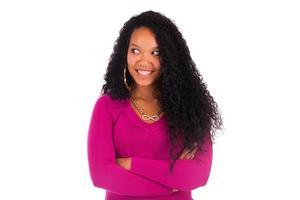 vacker afrikansk amerikansk kvinna närbild porträtt foto