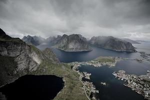Lofoten norge öar, stad från över 8 foto
