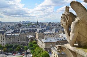 gargoyle med utsikt över Paris, Frankrike foto