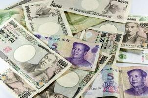 bakgrund av asiatisk valuta foto