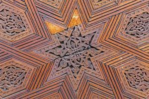 traditionell marockansk snidad träpanel foto