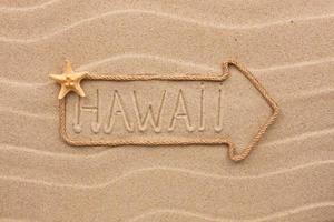 pil gjord av rep med ordet hawaii