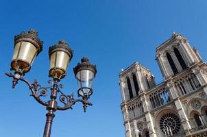 Notre Dame-katedralen och den traditionella parisiska lampstolpen foto