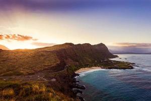 solnedgång från makapuu-fyren foto