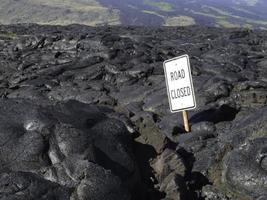 vägstängning från utbrott i Hawaii