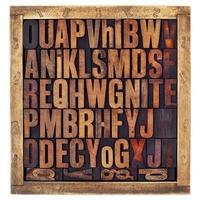 vintage boktryck alfabetet bokstäver foto