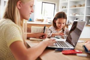 systrar tillbringar tid tillsammans med datorer hemma foto