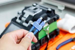 fiberoptisk kabel för nätverkssystem foto