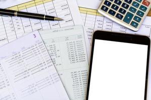 skrivbord kontorsaffär ekonomisk redovisning beräkna foto