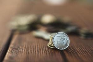 mynt på skrivbordet foto