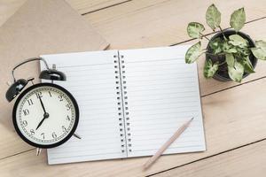anteckningsbok, penna, retro klocka och växt på träbord bakgrund foto