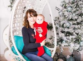 jul familj porträtt i hemmet foto