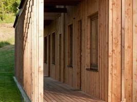 detalj av modernt trähus