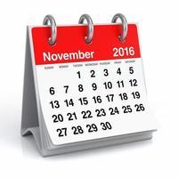 november 2016 - spiralkalender på skrivbordet foto