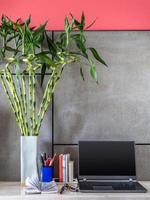 bärbar dator med vas av lycklig bambu i moderna rum foto