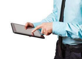 man med digital tablet, närbild
