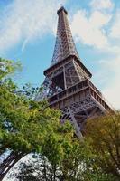 utsikt över eiffeltornet mellan träden foto
