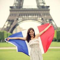 paris kvinna franska flaggan foto