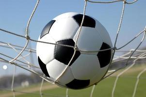 fotboll i nätet foto