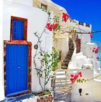 vitblå santorini foto