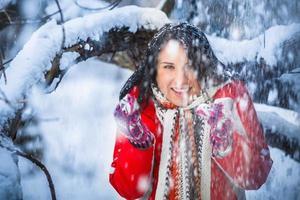 snö tjej, porträtt foto
