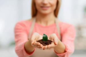 professionell blomsterhandlare som arbetar i växthus foto
