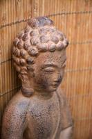 porträtt av brun buddha staty med bambu bakgrund