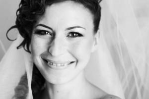 porträtt av bruden foto