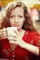 porträtt med kaffe foto