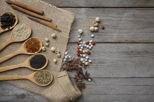 kryddor på träskedar foto