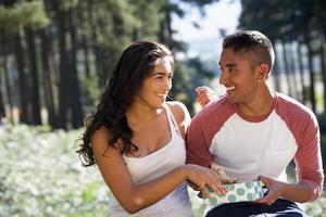 ungt par njuter av picknick på landsbygden foto