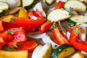färgglad paprika lök zucchini fänkål på ugn bricka foto