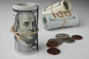 dollar och mynt foto