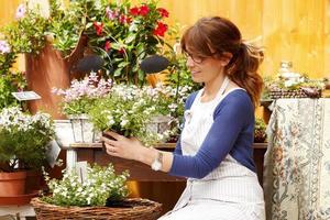blomsterbutik ägare foto