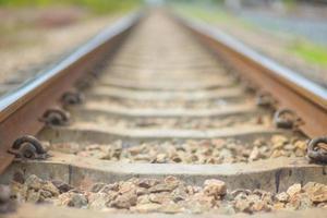 järnväg i solig dag, Thailand. det är klassisk järnväg. foto