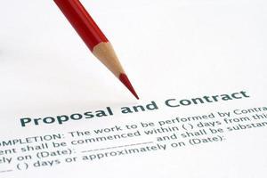 förslag och kontrakt foto