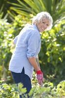 äldre kvinna trädgårdsskötsel, porträtt foto