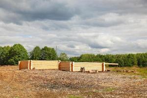 bygga gröna byggnader gjorda av trä stockar