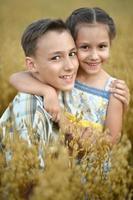 glada barn i fält på sommaren foto