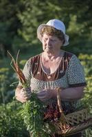 äldre kvinna med en korg med grönsaker på gården foto