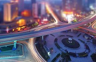 Flygfoto över staden med tilt-shift-effekt foto