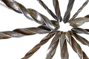 lagarbete grupp av vintage borr metall trä foto