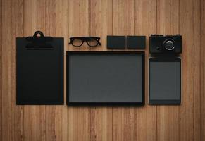 uppsättning av de klassiska affärsmässiga tomma elementen. 3d framför foto