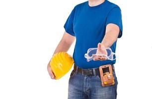 blå krage arbetare. foto