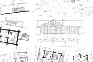 arkitektoniska hand ritningar bakgrund foto